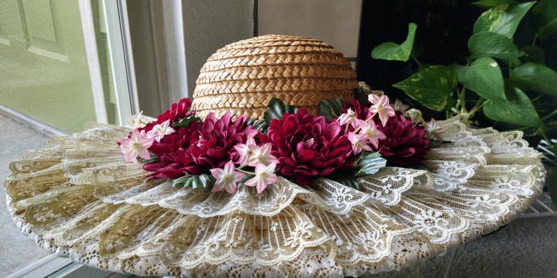 embellished straw hats, created by Marci Heiser, costume designer, near Denver, Colorado